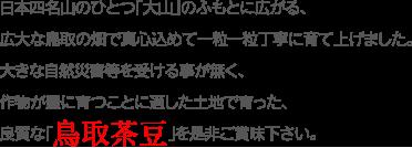 日本四名山のひとつ「大山」のふもとに広がる、広大な鳥取の畑で真心込めて一粒一粒丁寧に育て上げました。 大きな自然災害等を受ける事が無く、作物が豊に育つことに適した土地で育った、良質な「鳥取茶豆」を是非ご賞味下さい。